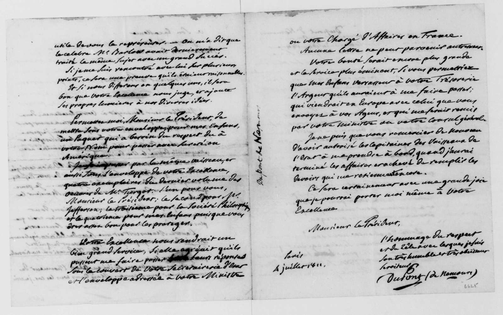Dupont de Nemours to James Madison, July 4, 1811. In French.