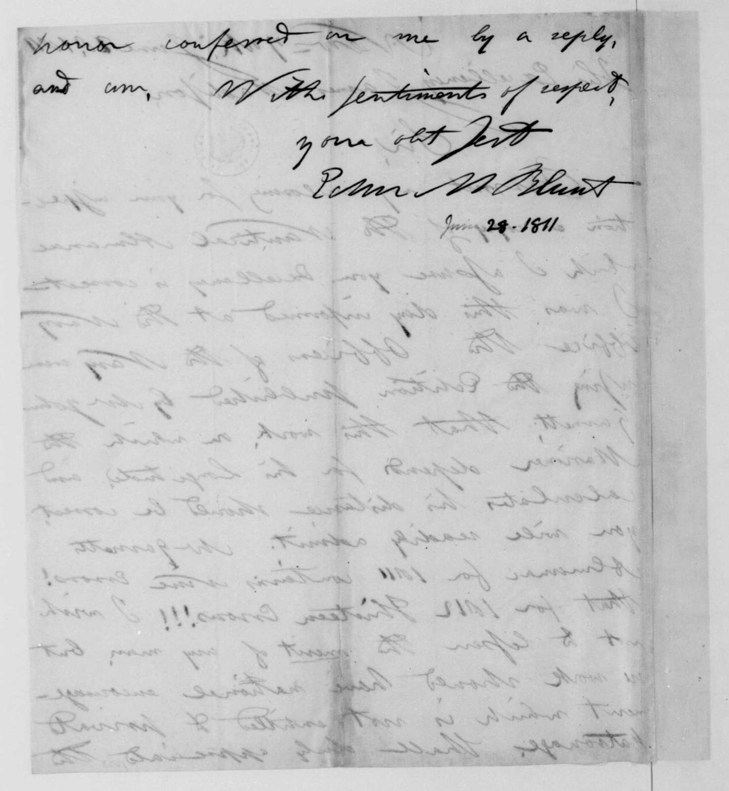 E. M. Blunt to James Madison, June 28, 1811.
