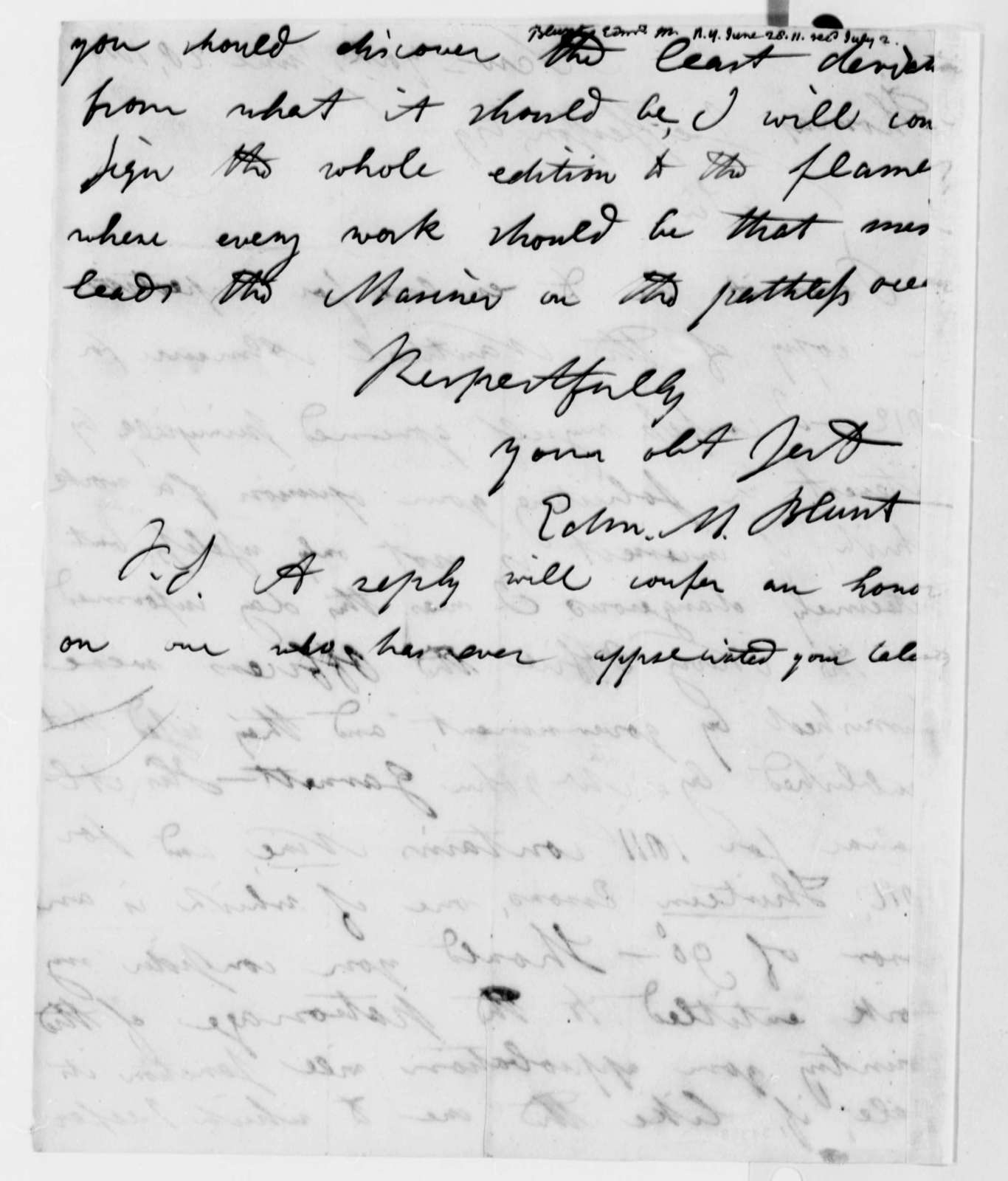 Edmund M. Blunt to Thomas Jefferson, June 28, 1811