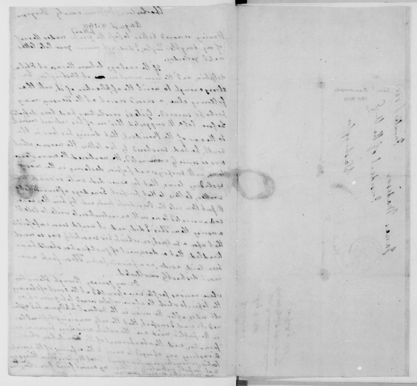 Edmund Randolph to James Madison, August 8, 1811. With a note by James Madison.
