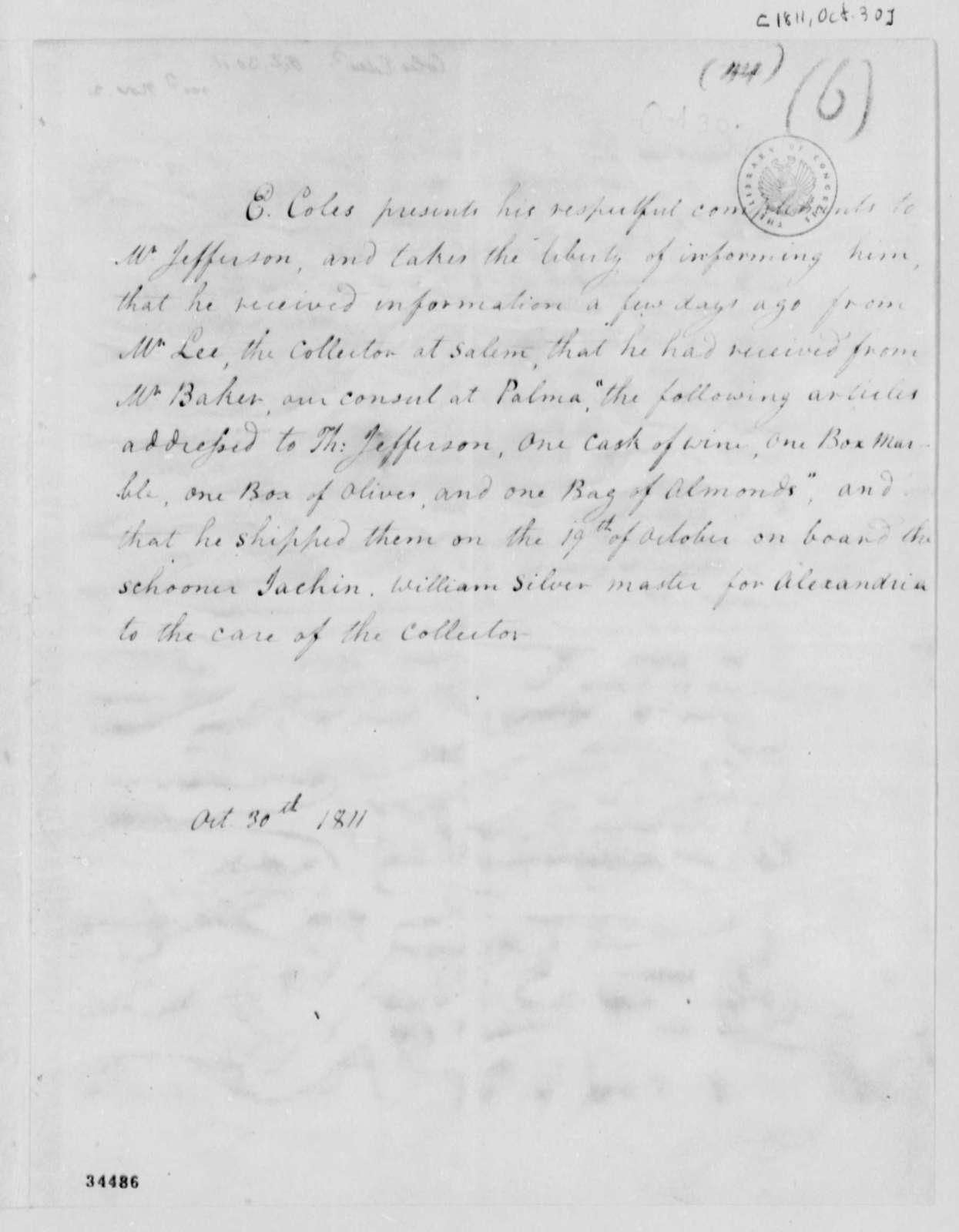 Edward Coles to Thomas Jefferson, October 30, 1811