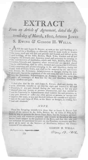 Extract from an article of agreement, dated the fifteenth day of March, 1810, between James S. Ewing & Gideon H. Wells ... [Note by Gideon H. Wells] Burlington County, August 24, 1811.