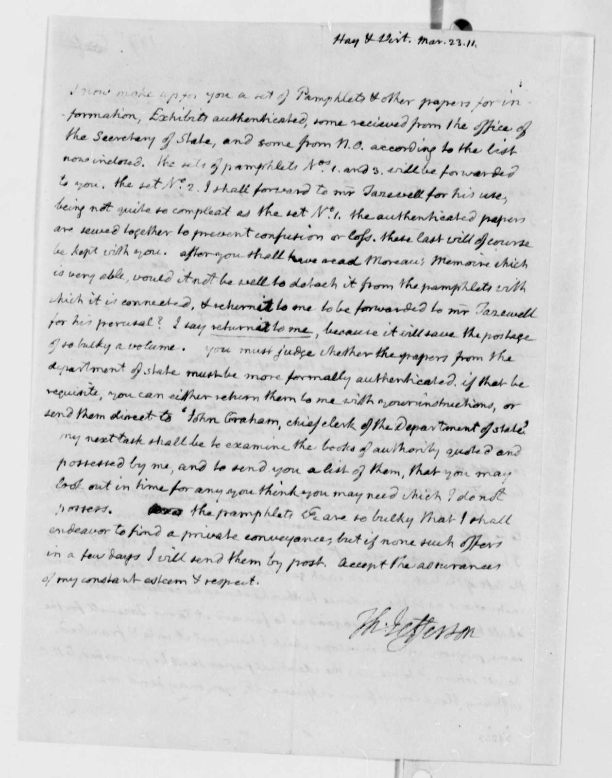 George Hay and William Wirt to Thomas Jefferson, March 23, 1811