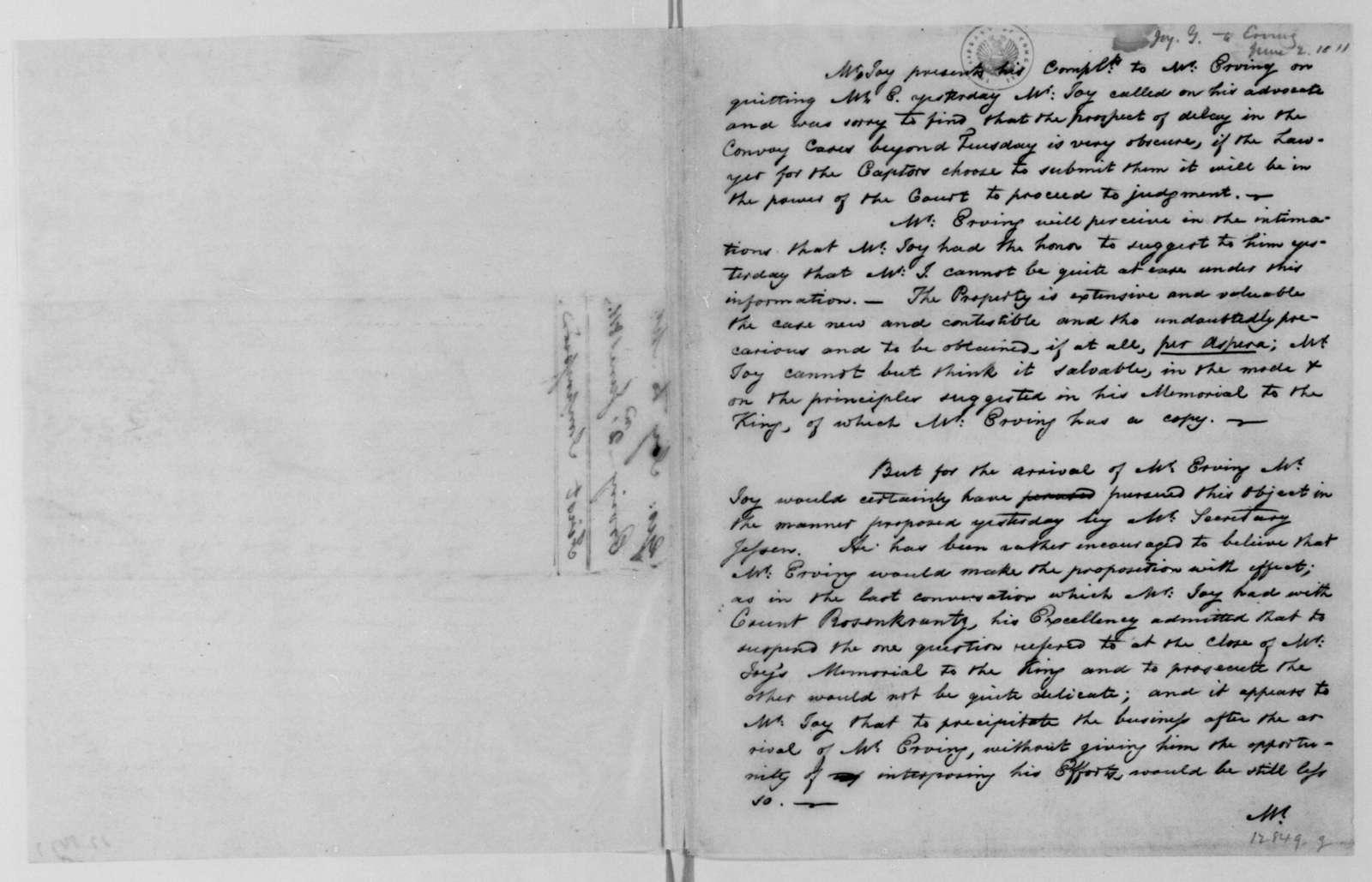 George Joy to George W. Erving, June 2, 1811.