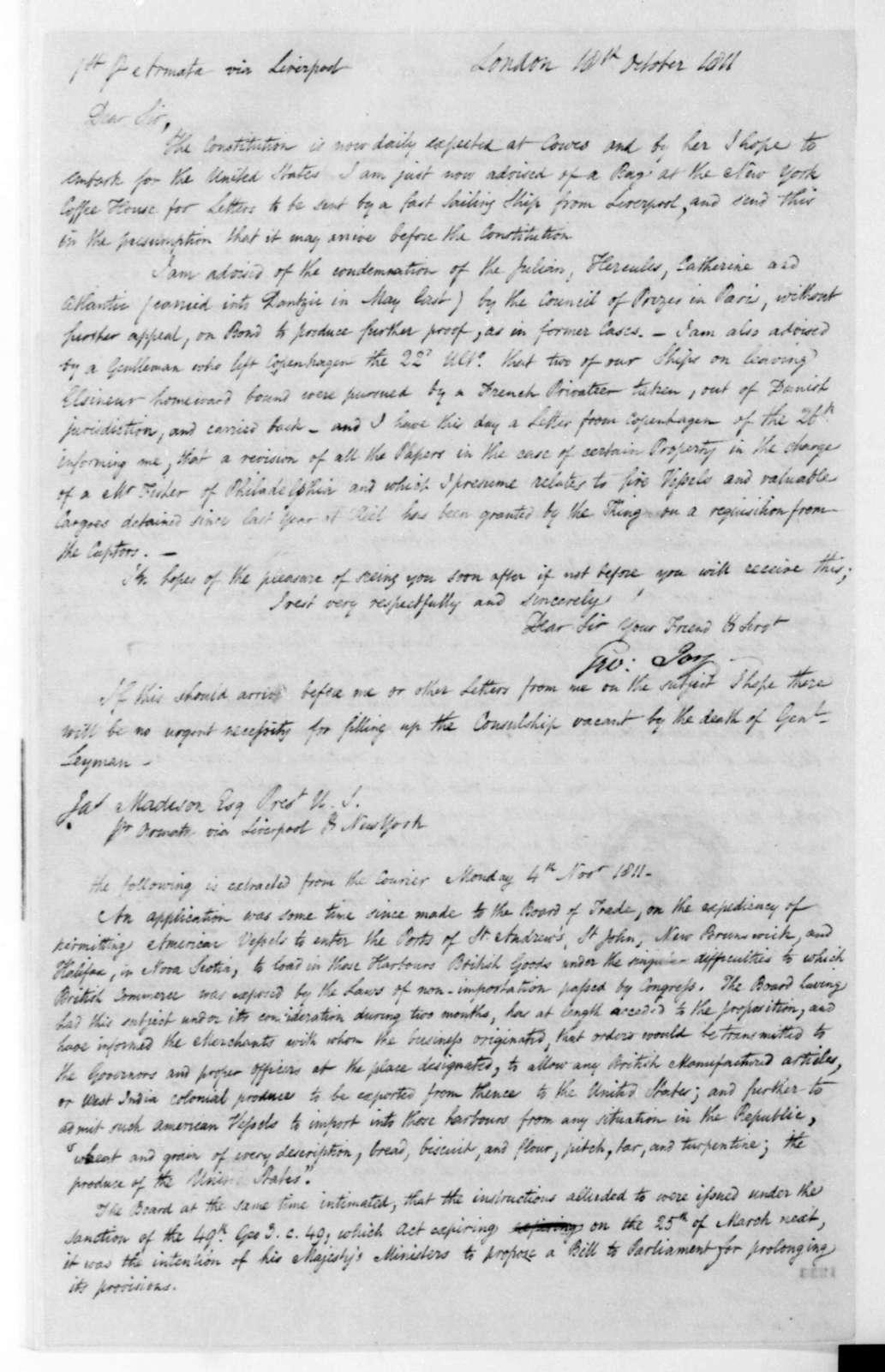 George Joy to James Madison, October 18, 1811.
