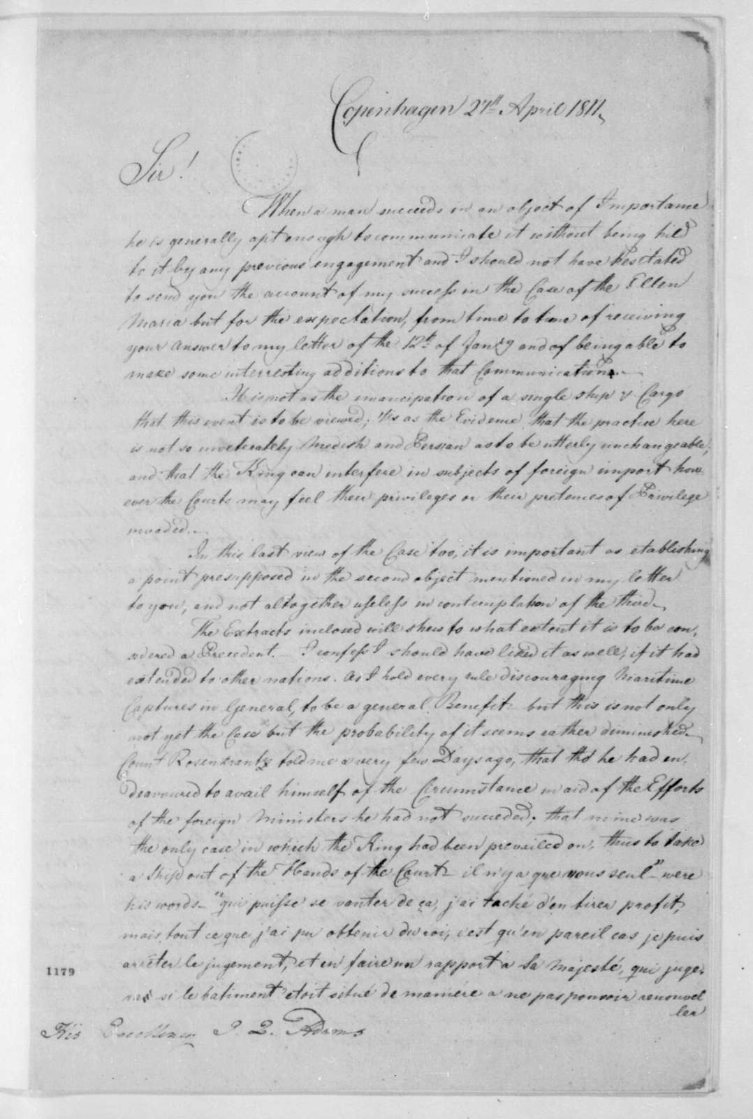 George Joy to John Quincy Adams, April 27, 1811.