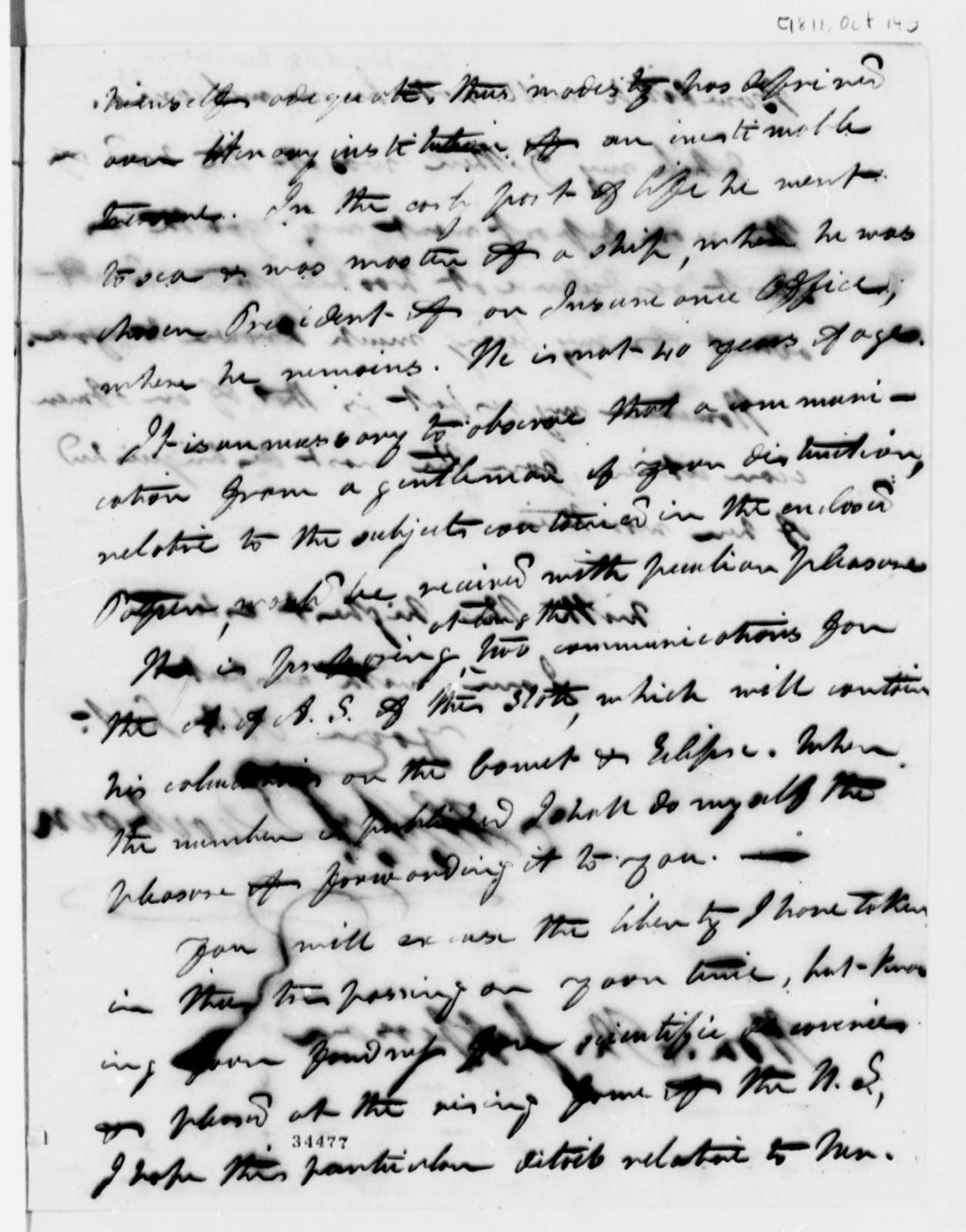Henry A. S. Dearborn to Thomas Jefferson, October 14, 1811, Bowditch Circular Enclosed