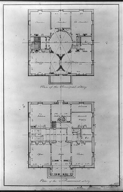 "[House (""Pope House"") for John Pope, Lexington, Kentucky. Basement & principal story, floor plans]"