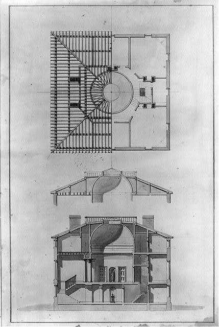 "[House (""Pope House"") for John Pope, Lexington, Kentucky. Elevations, sections, and roof framing plan]"