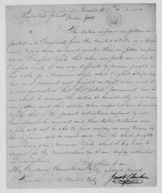 Jacob Barker to James Madison, July 1, 1811.
