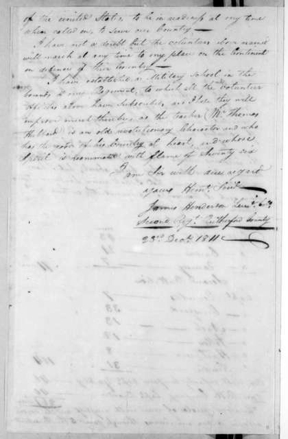 James Henderson to Andrew Jackson, December 23, 1811