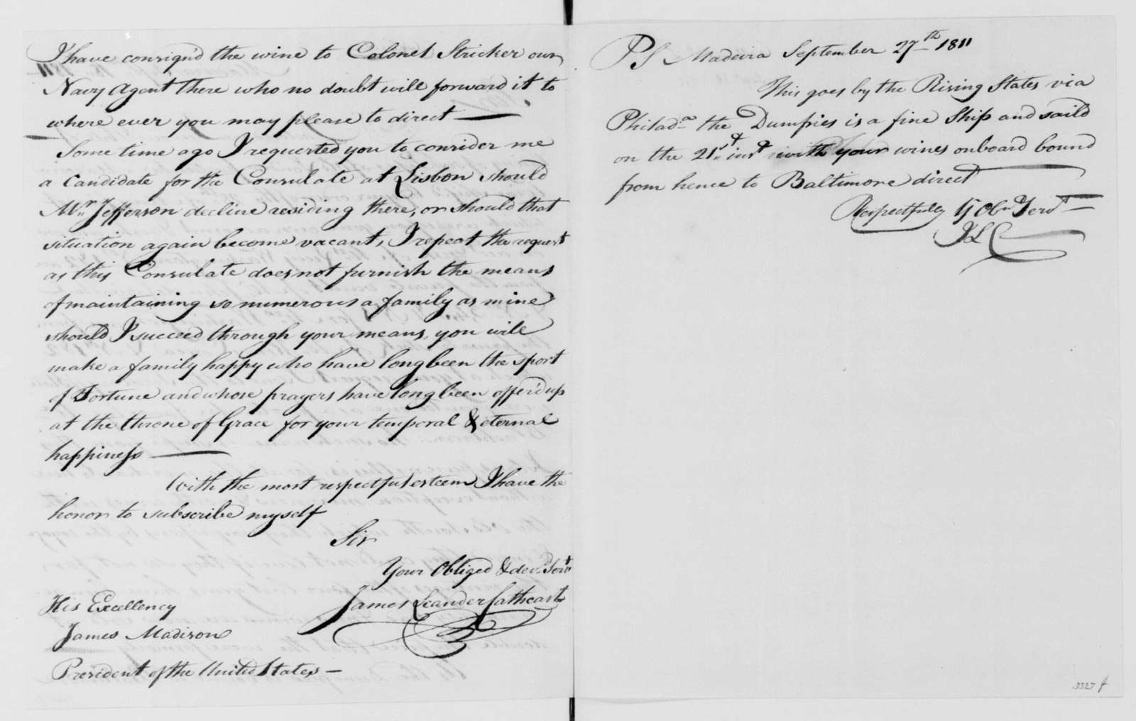 James Leander Cathcart to James Madison, September 18, 1811. Includes shipping accounts and a copy.