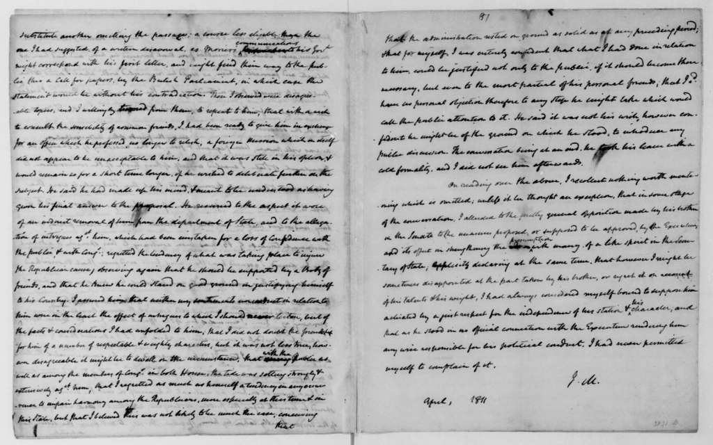 James Madison to Robert Smith, April, 1811. Notes on conversations.