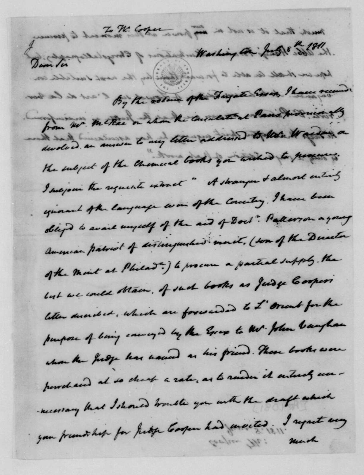 James Madison to Thomas Cooper, July 8, 1811.