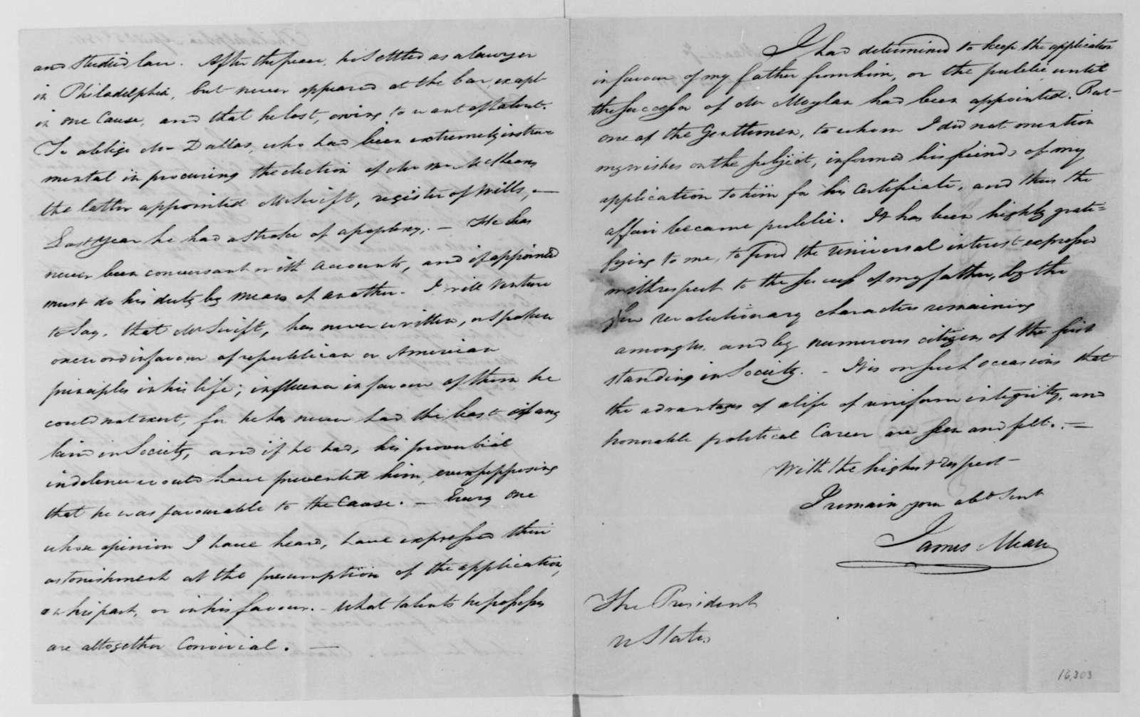 James Mease to James Madison, April 25, 1811.