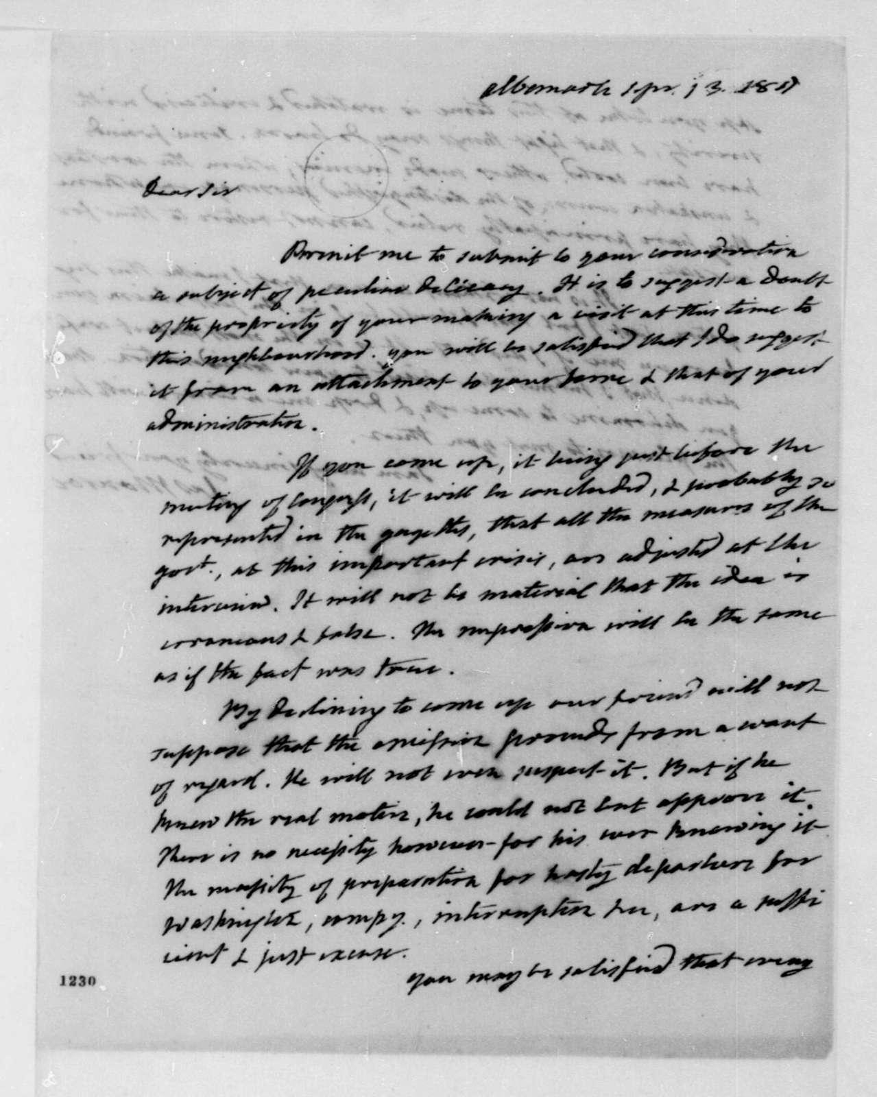 James Monroe to James Madison, September 13, 1811.