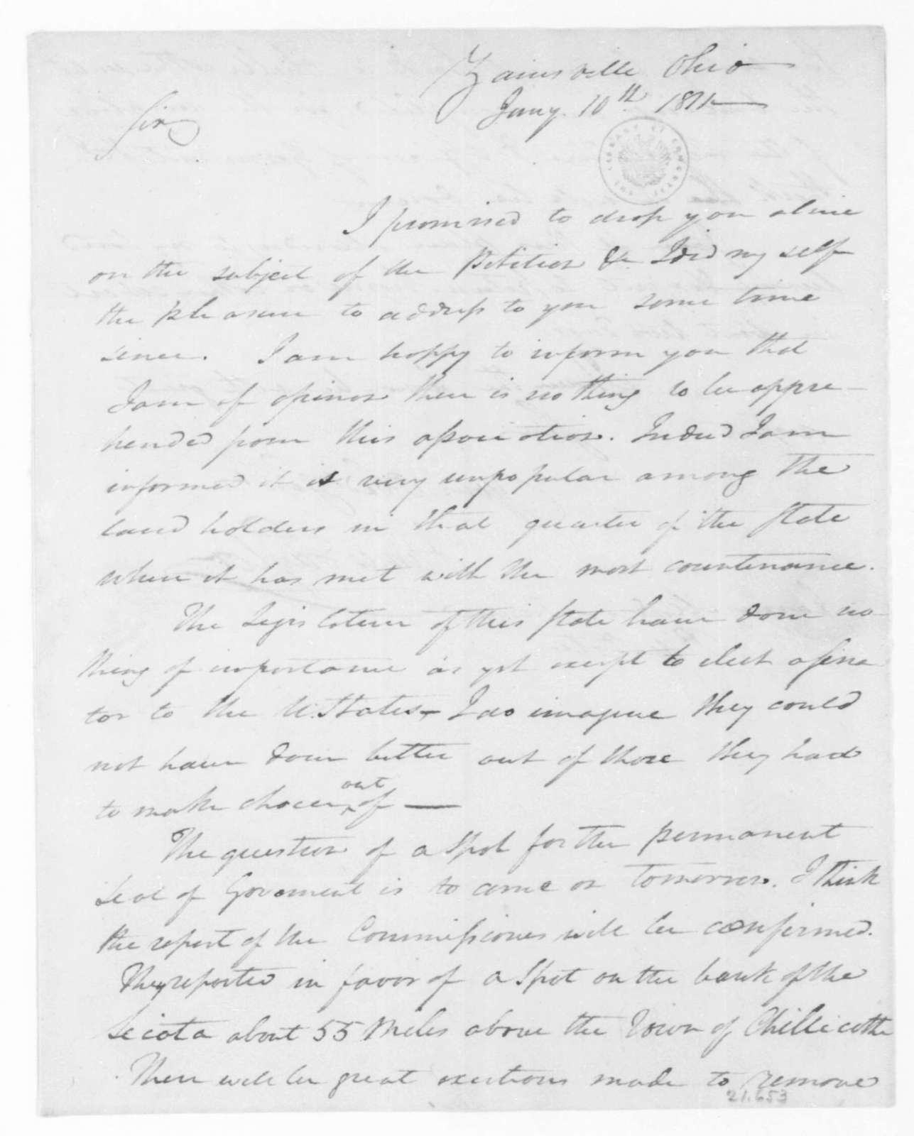 James Taylor to James Madison, January 10, 1811.