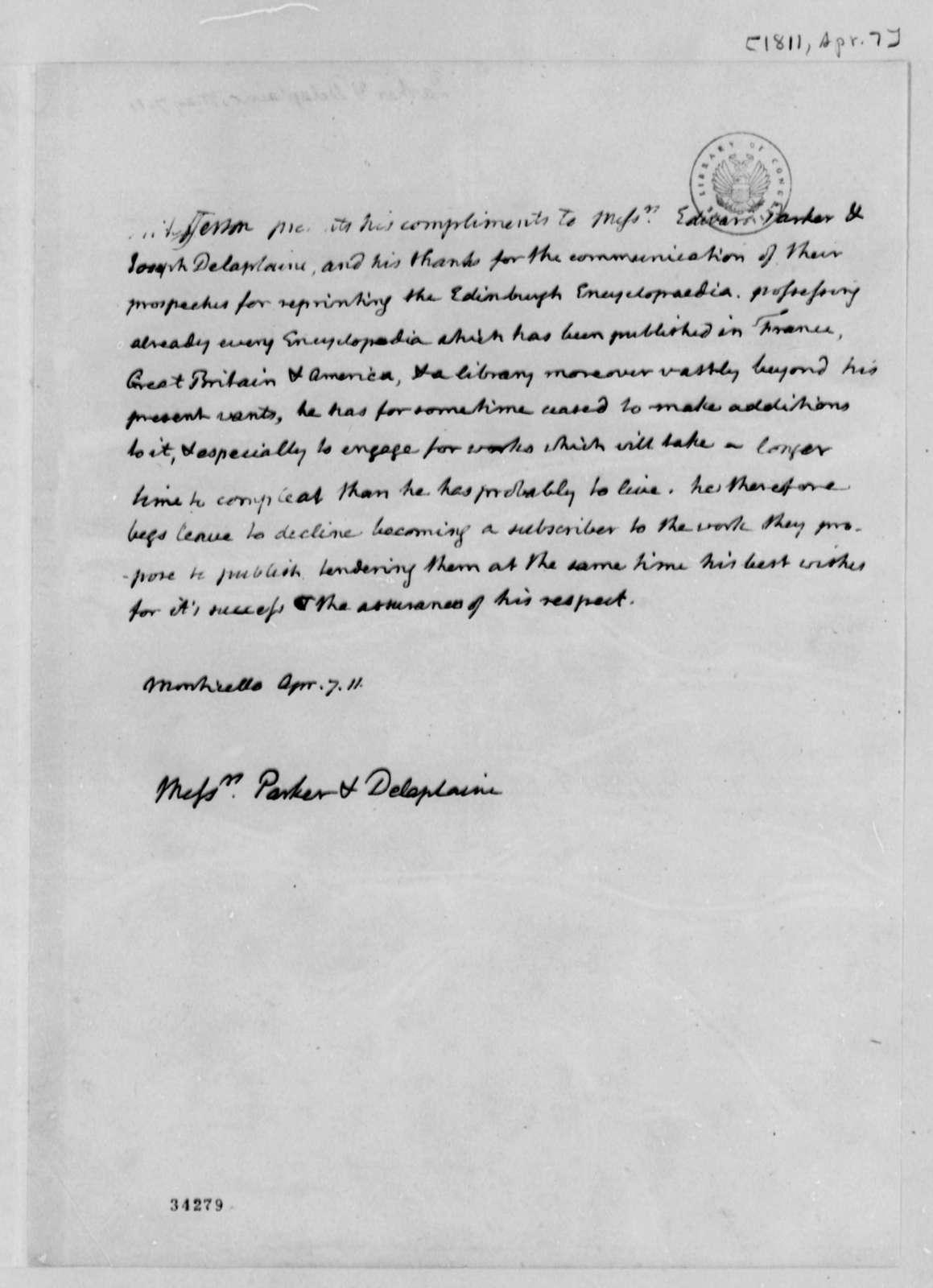 Jefferson Thomas to Edward Parker and Joseph Delaplaine, April 7, 1811