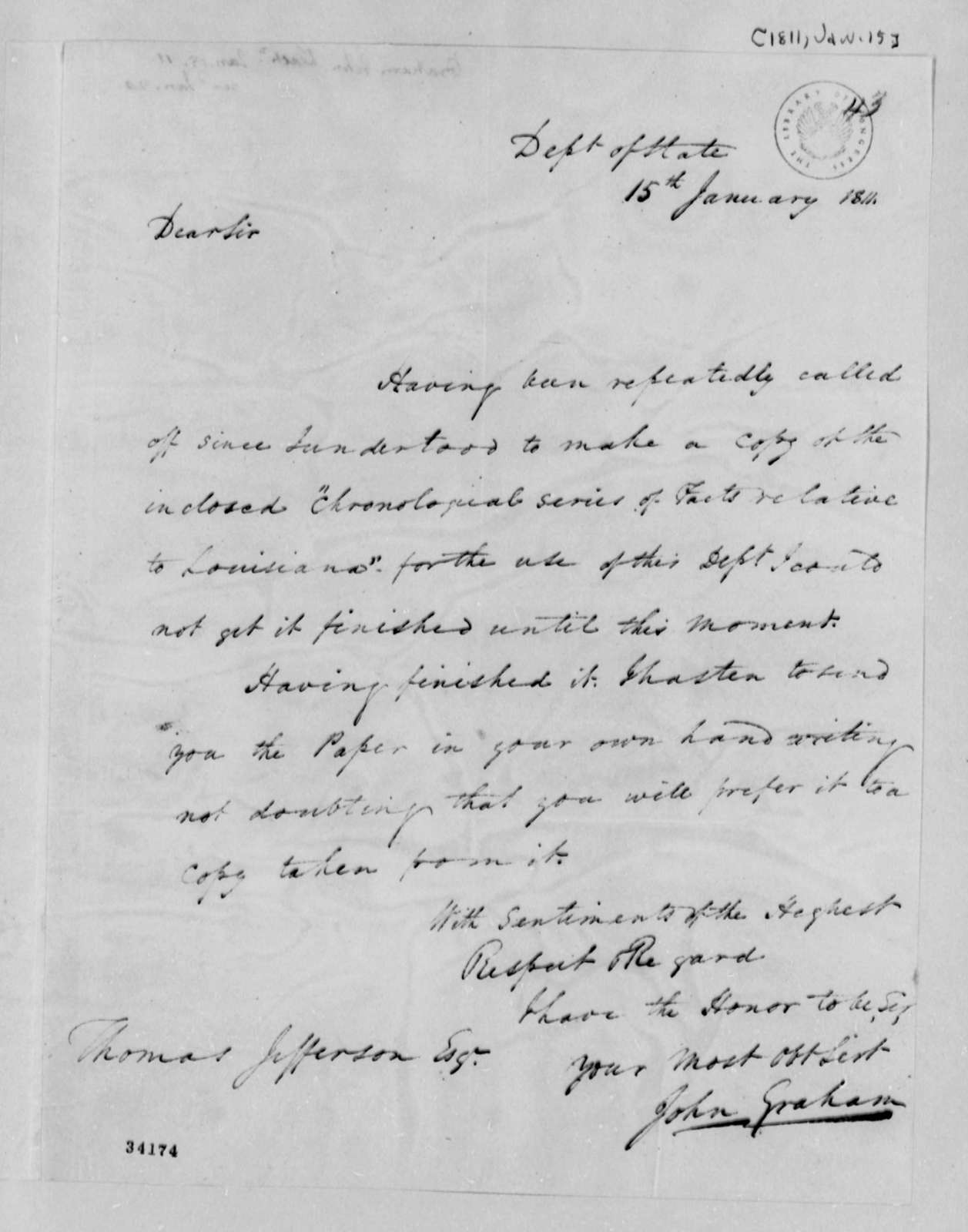 John A. Graham to Thomas Jefferson, January 15, 1811