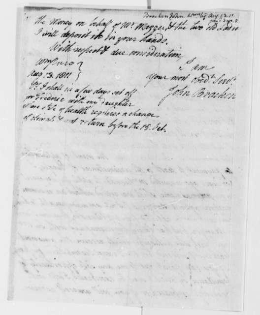 John Bracken to Thomas Jefferson, August 13, 1811