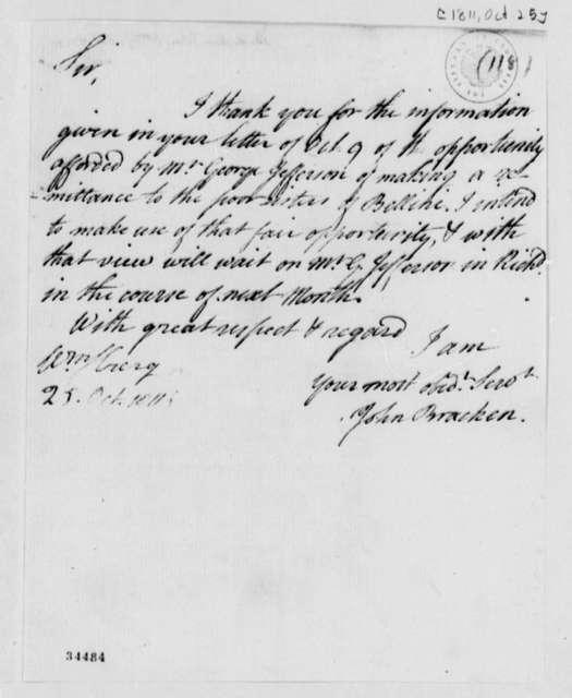 John Bracken to Thomas Jefferson, October 25, 1811