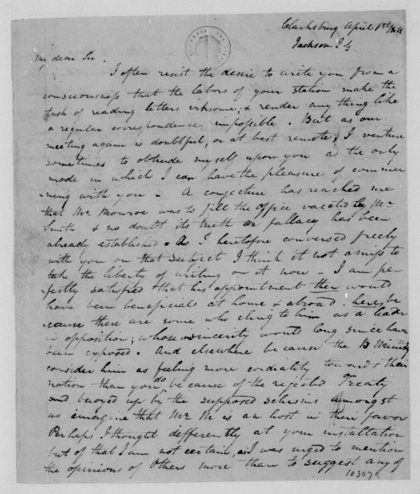 John G. Jackson to James Madison, April 1, 1811.