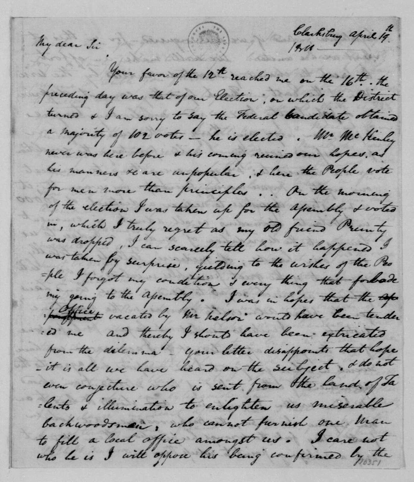 John G. Jackson to James Madison, April 19, 1811.