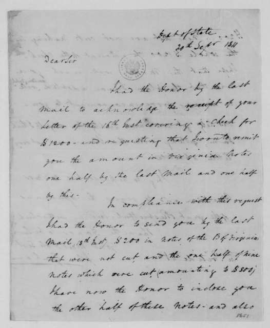 John Graham to James Madison, September 20, 1811. Includes notes on denominations of currency.