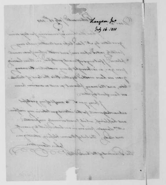 John Langdon to James Madison, July 16, 1811.