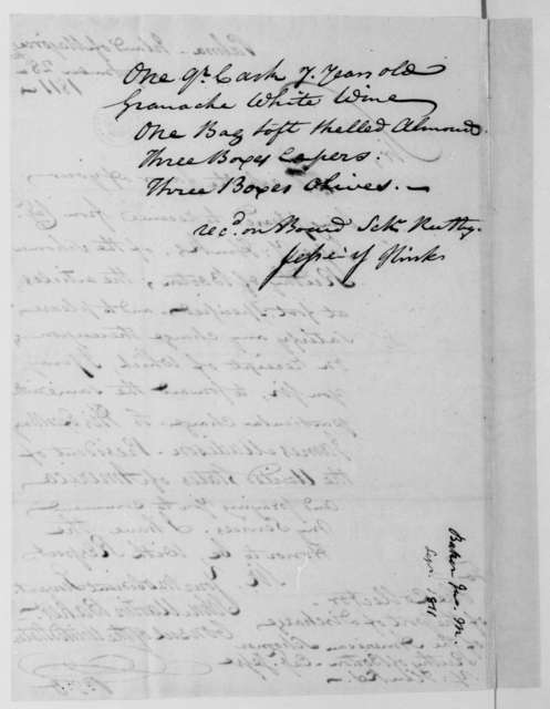 John Martin Baker to Collector for the port of Palma, Island of Majorca, September 28, 1811. Includes not of receipt by Jesse Y. Hinks.