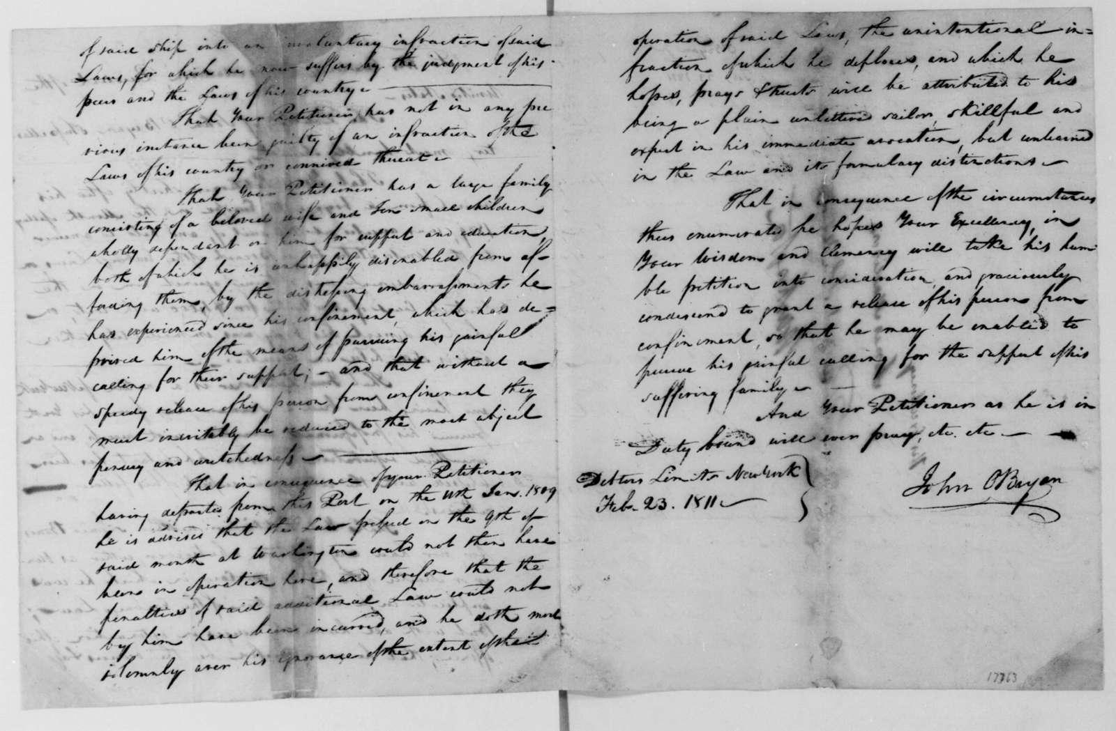 John O'Bryan to James Madison, February 23, 1811. Petition.