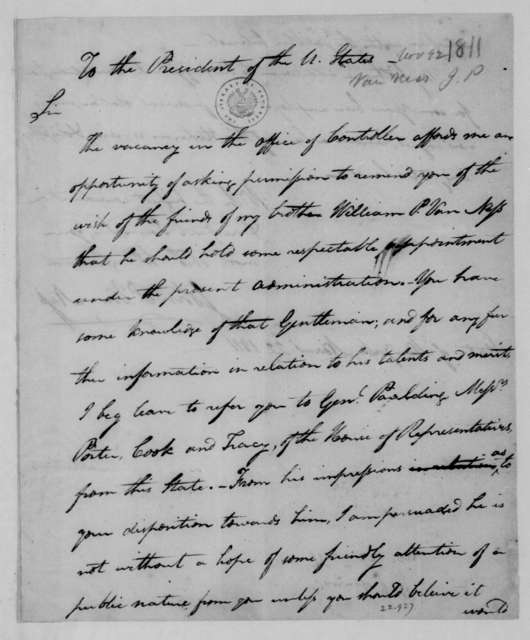 John P. Van Ness to James Madison, November 22, 1811.