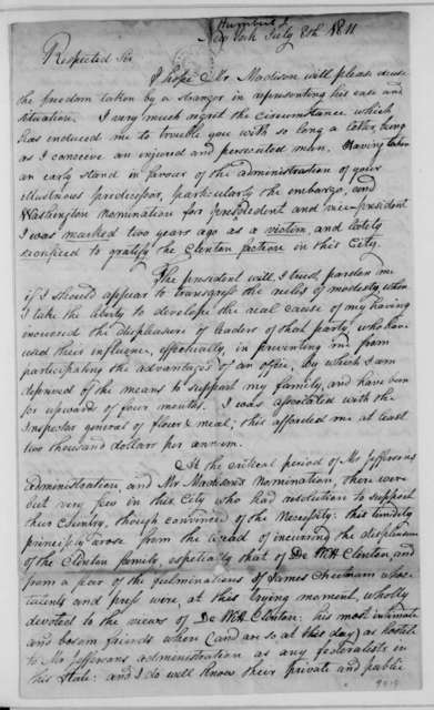 Jonas Humbert to James Madison, July 8, 1811.