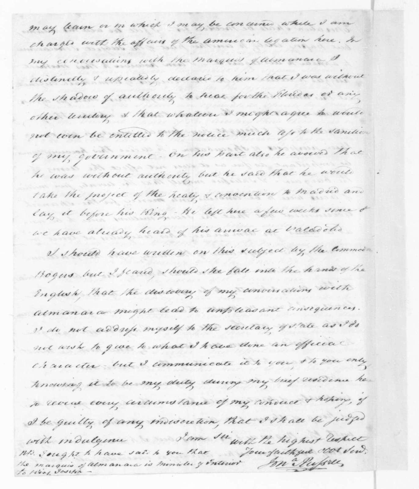 Jonathan Russell to James Madison, January 2, 1811.
