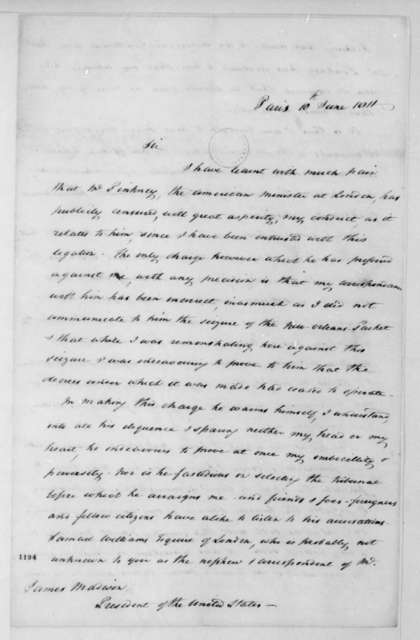Jonathan Russell to James Madison, June 10, 1811.
