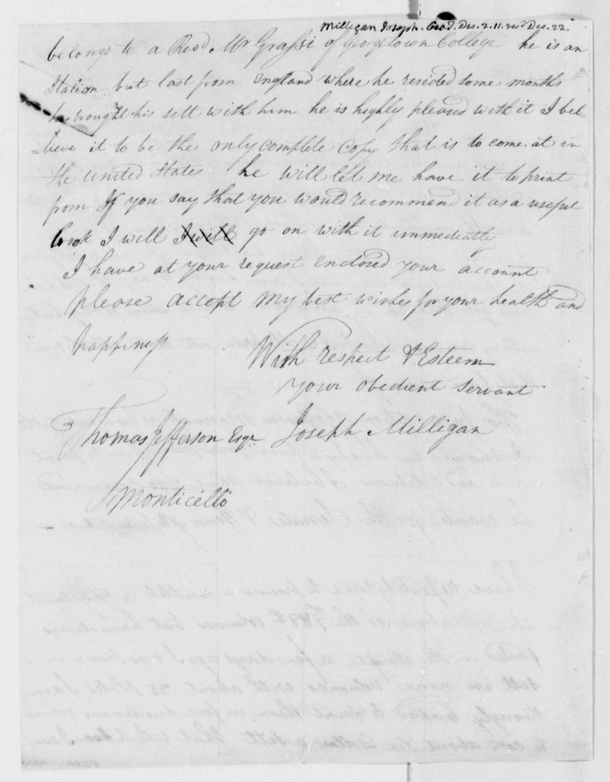 Joseph Milligan to Thomas Jefferson, December 2, 1811