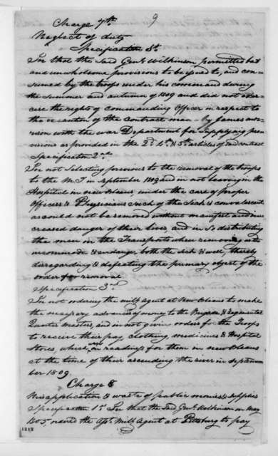 July 8, 1811. Court Martial of James Wilkinson.
