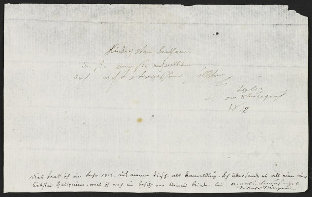 Ludwig van Beethoven autograph letter to Amalie Sebald, 1811 Aug. 8