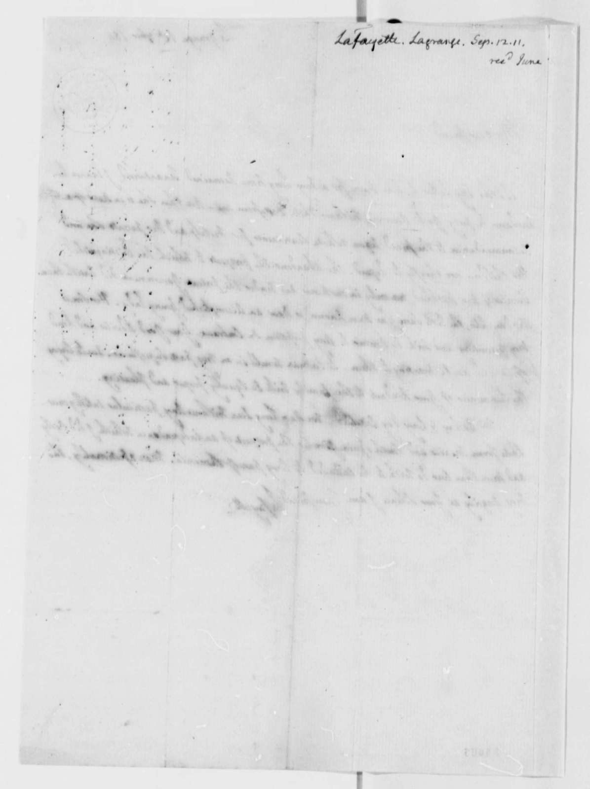 Marie Joseph Paul Yves Roch Gilbert du Motier, Marquis de Lafayette to Thomas Jefferson, September 12, 1811
