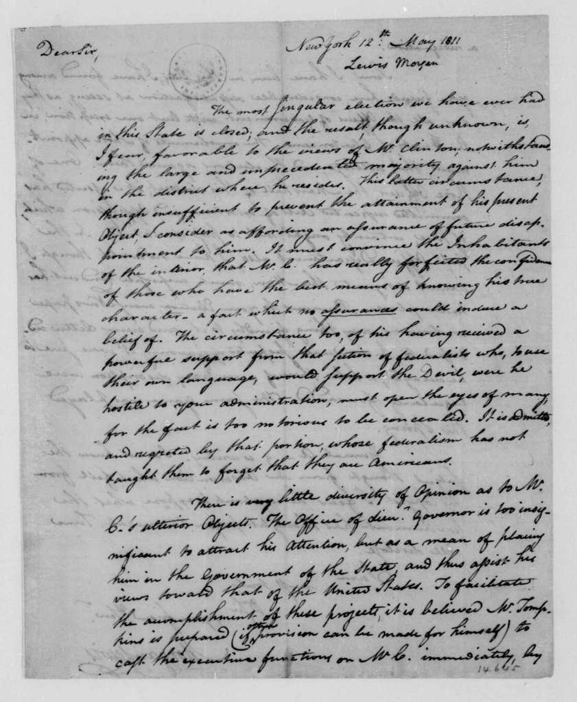 Morgan Lewis to James Madison, May 12, 1811.