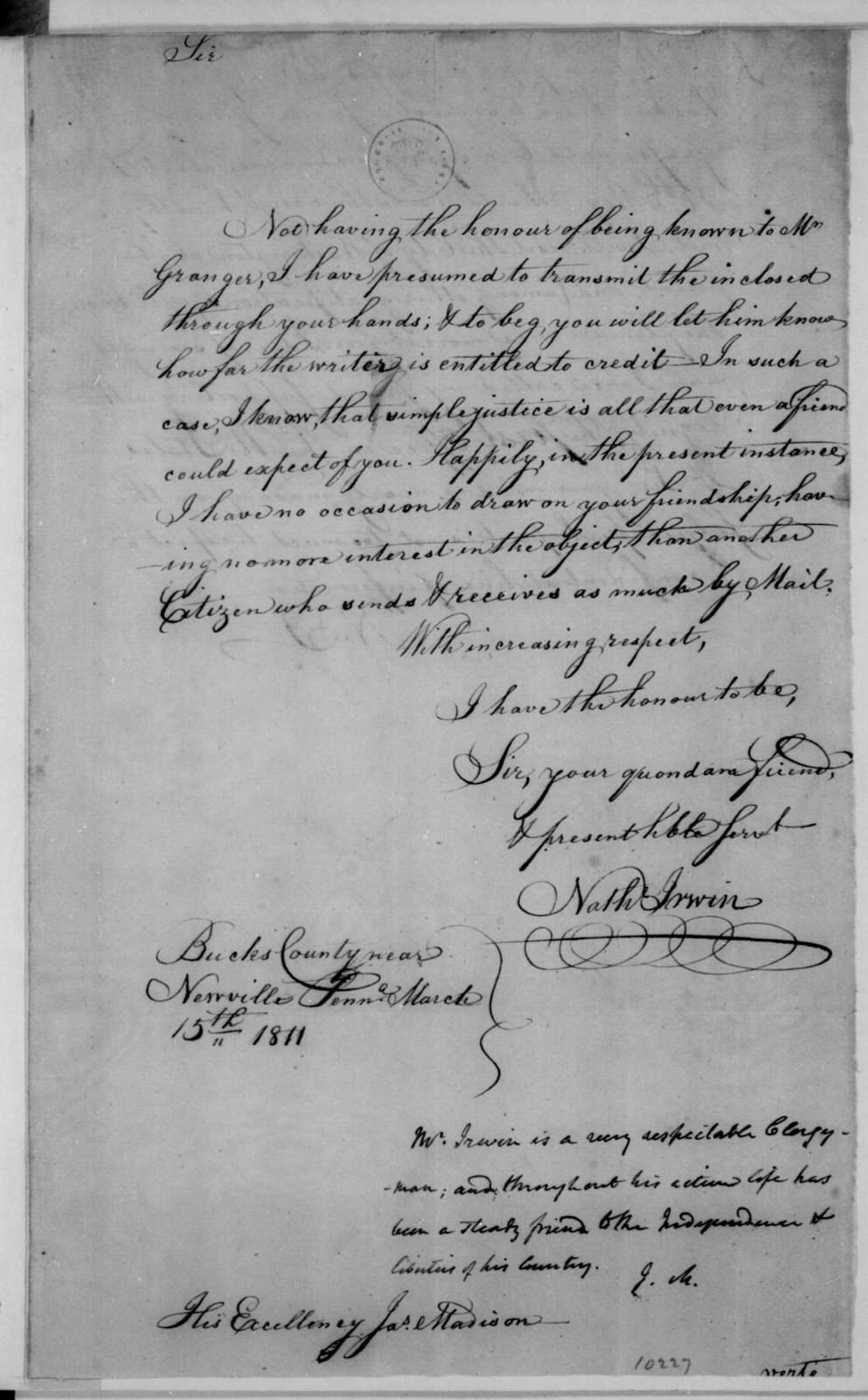 Nathaniel Irwin to James Madison, March 15, 1811. With a note by James Madison.