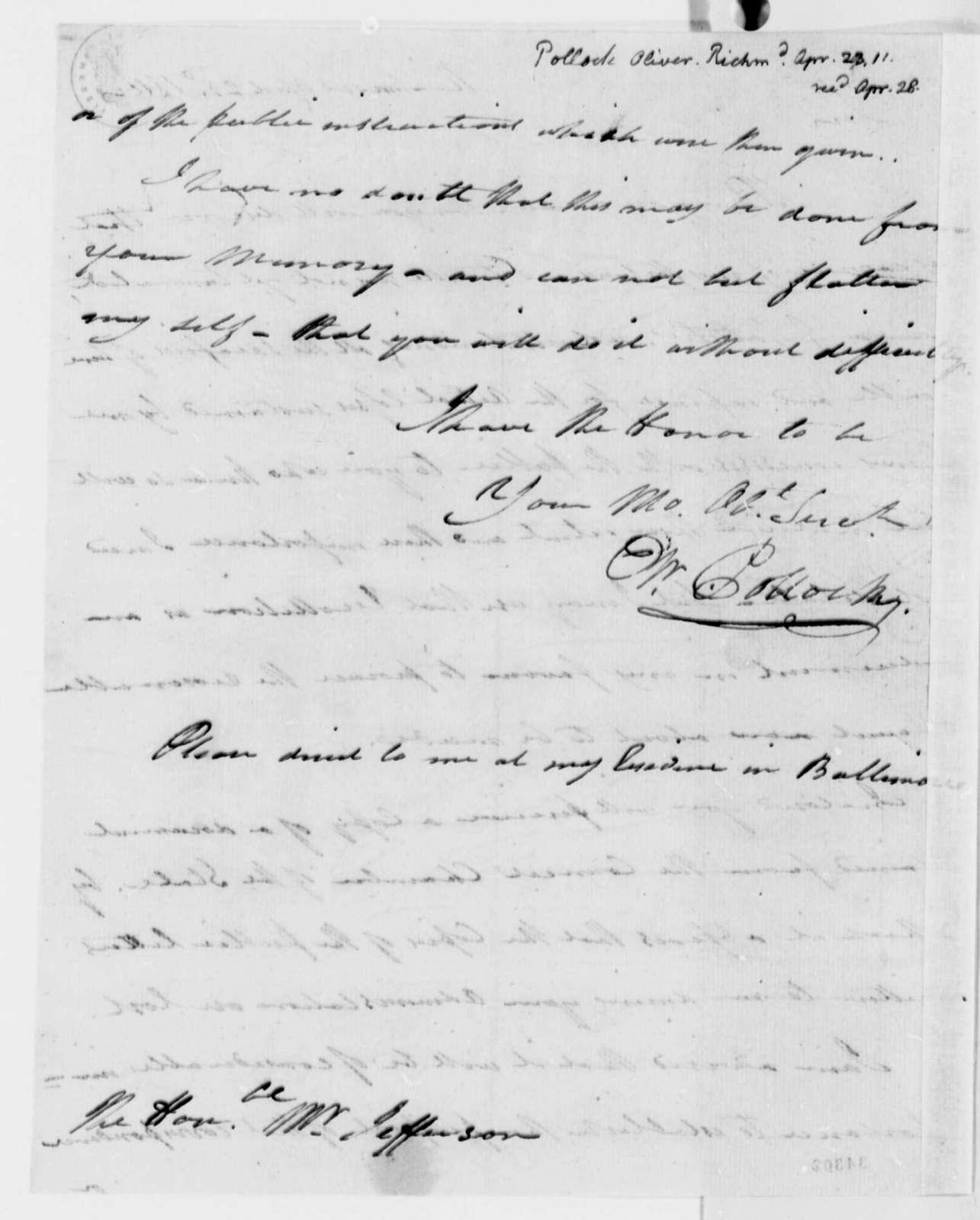 Oliver Pollock to Thomas Jefferson, April 23, 1811
