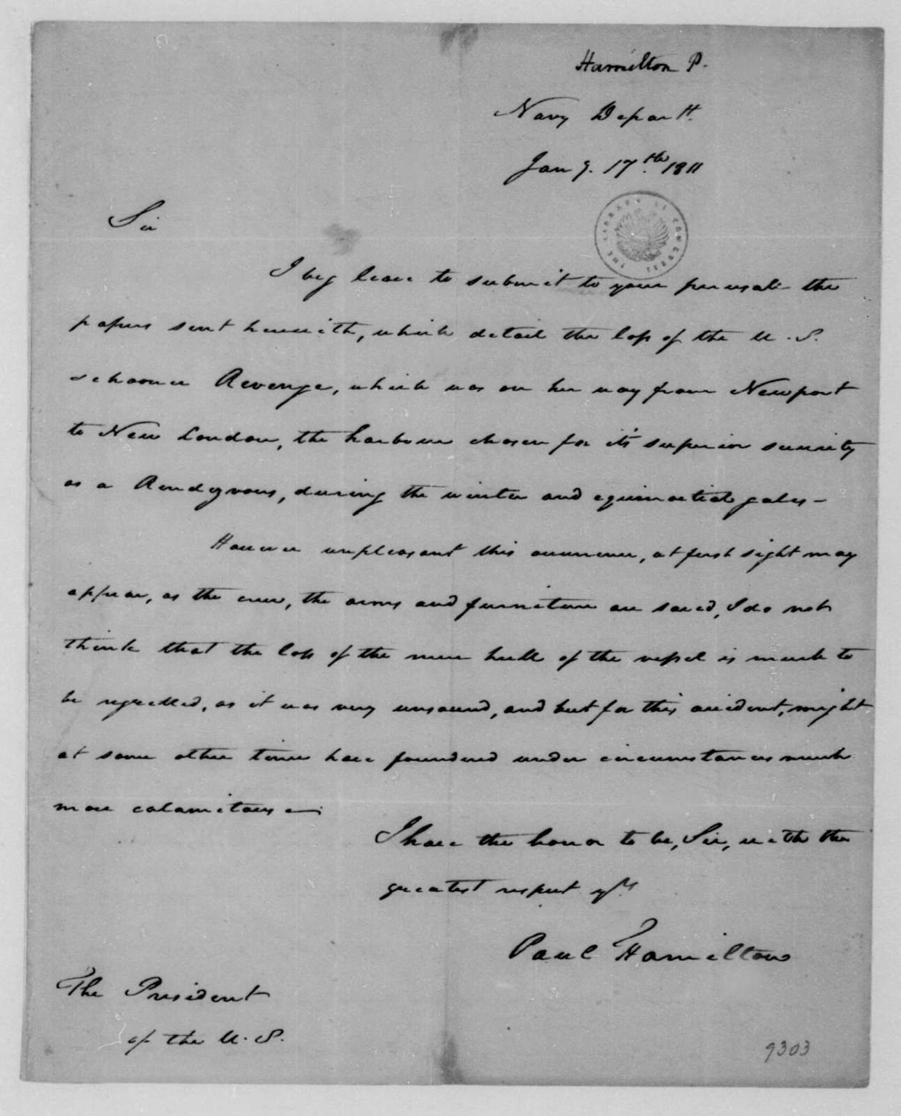 Paul Hamilton to James Madison, January 17, 1811.