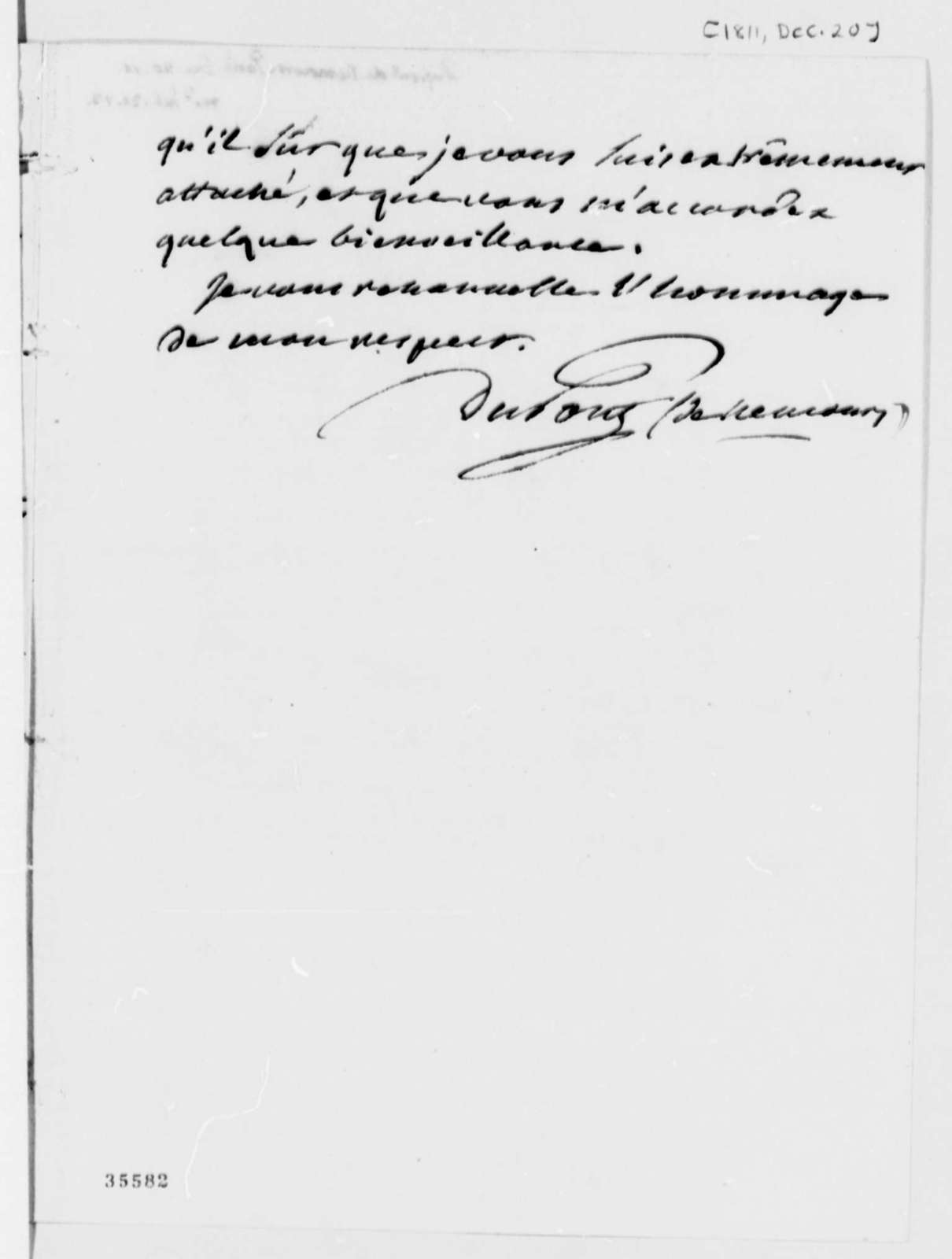 Pierre S. Dupont de Nemours to Thomas Jefferson, December 20, 1811, in French