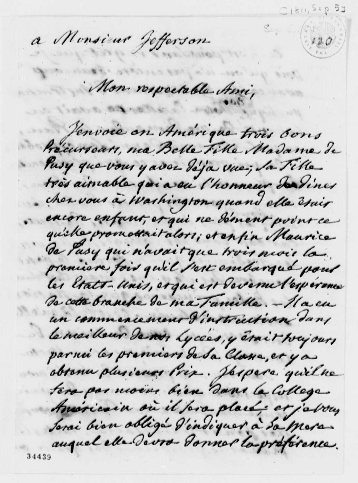 Pierre S. Dupont de Nemours to Thomas Jefferson, September 5, 1811, in French
