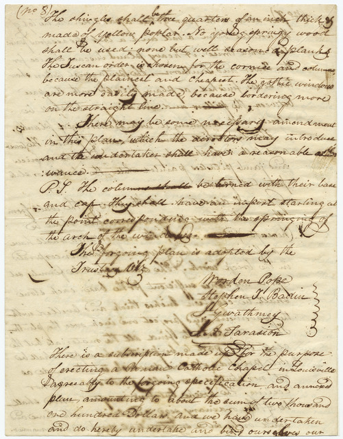 Plan and contract for the Catholic Chapel of Louisville, Kentucky