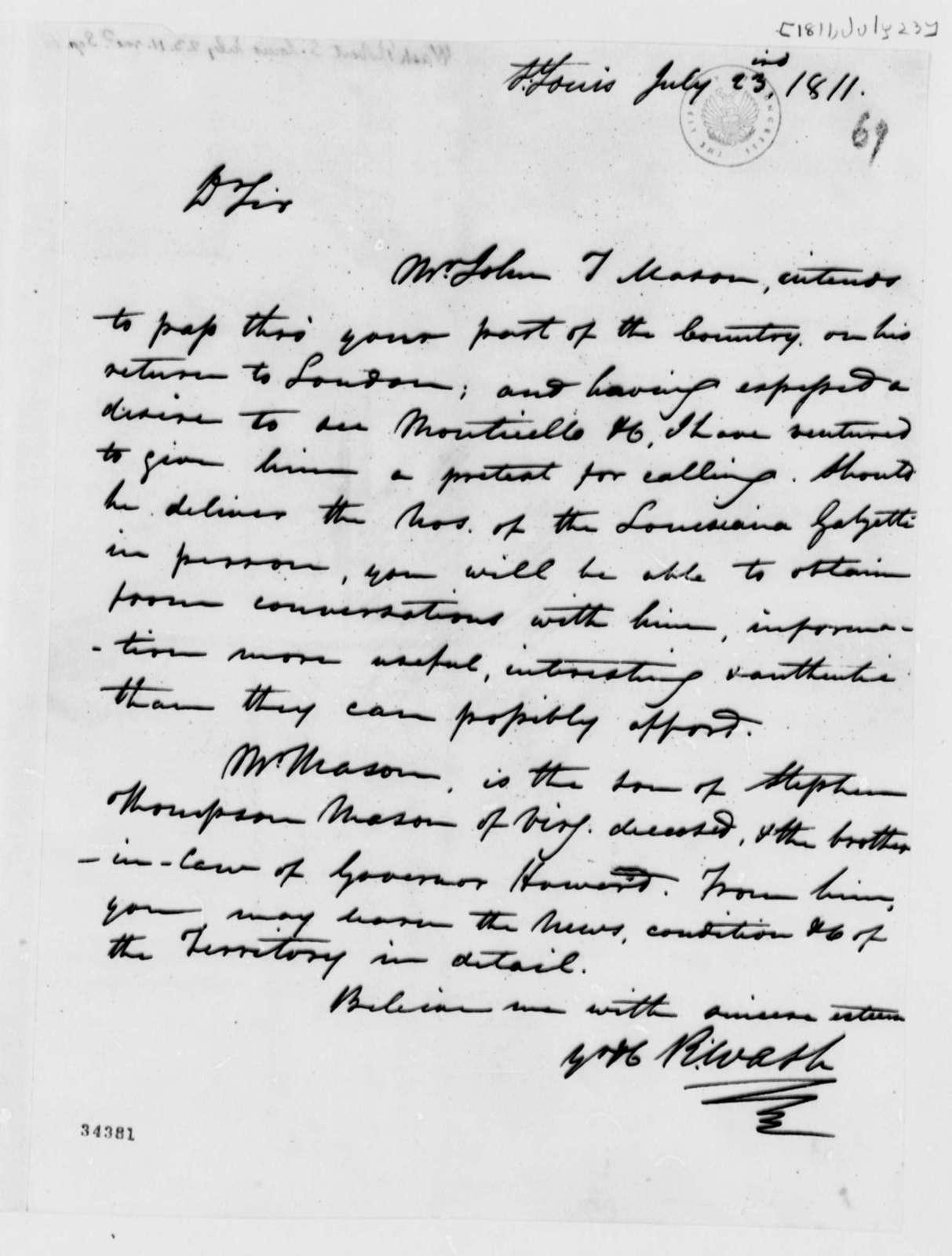 Robart Wash to Thomas Jefferson, July 23, 1811
