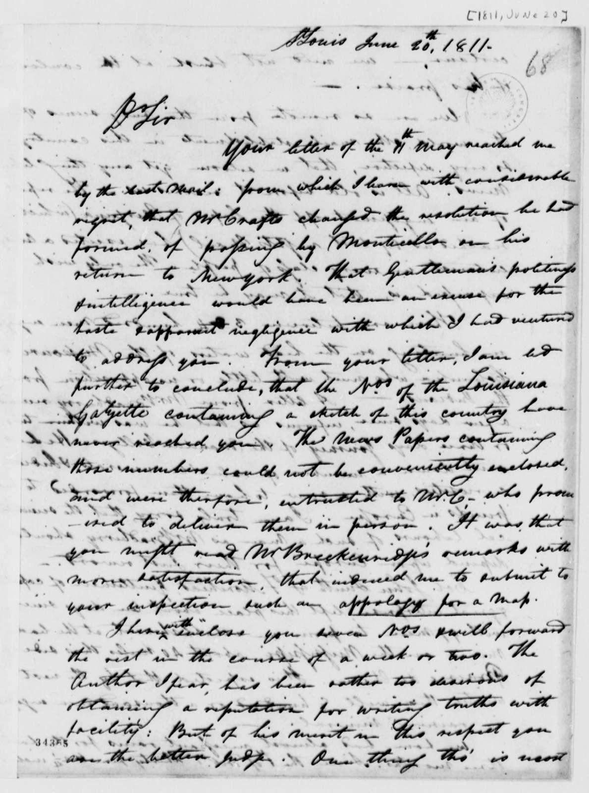Robart Wash to Thomas Jefferson, June 20, 1811