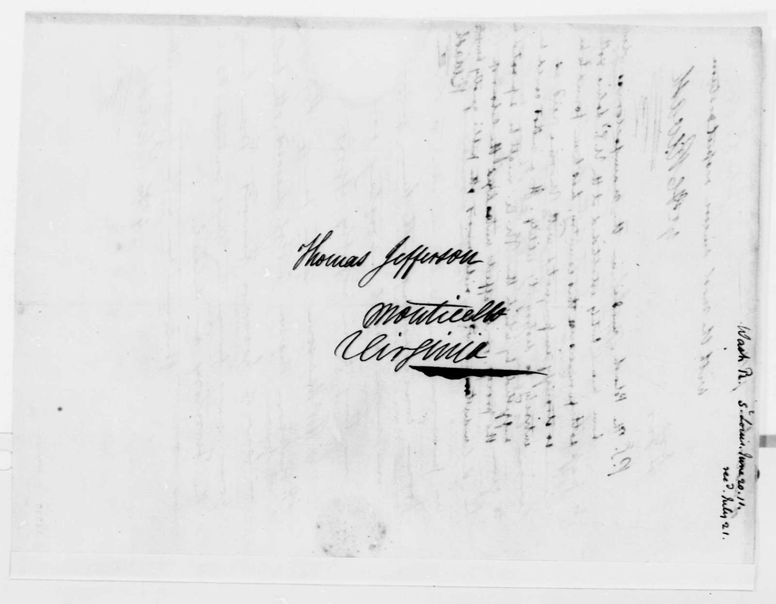 Robart Wash to Thomas Jefferson, June 20, 1811