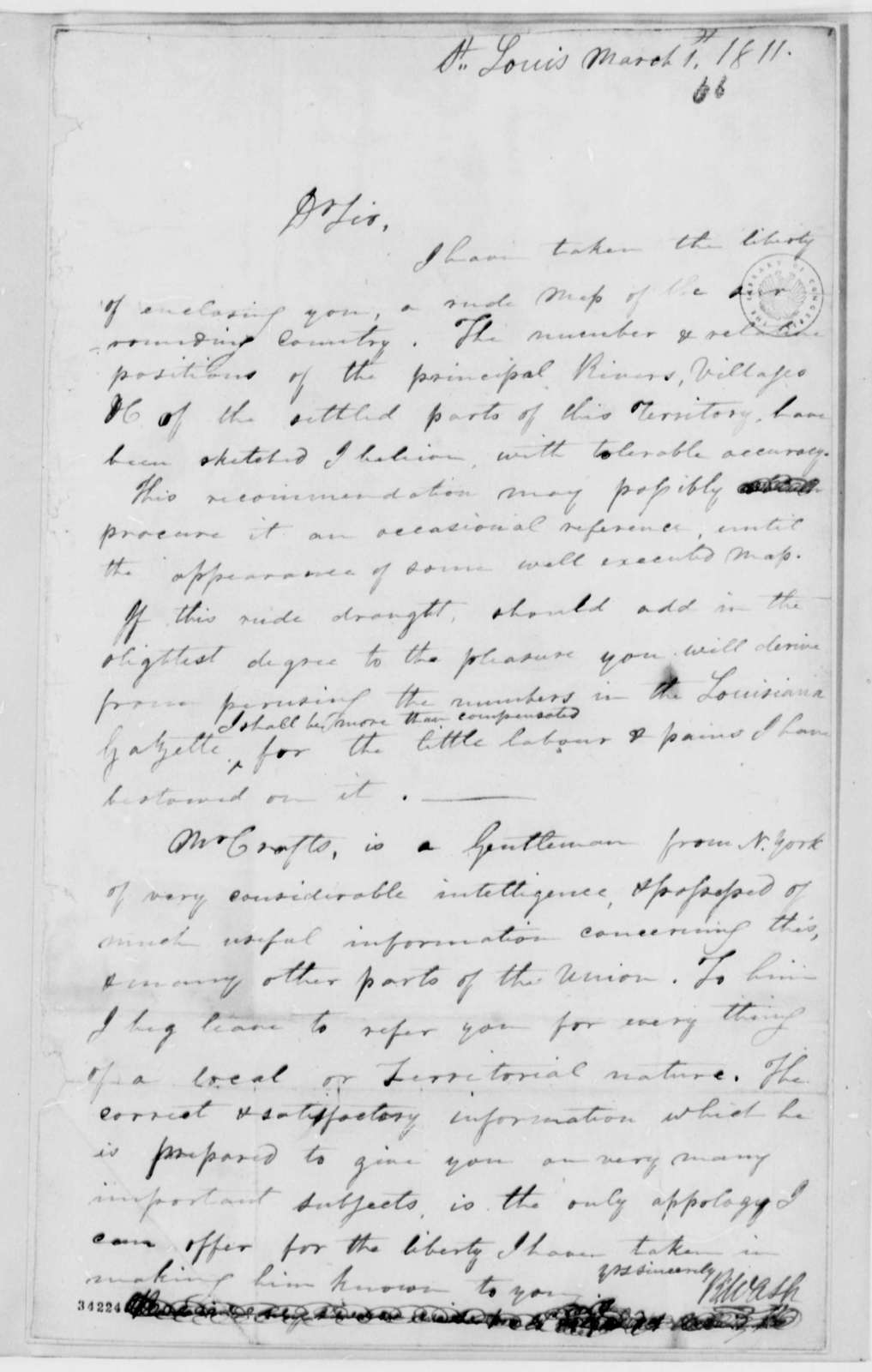 Robart Wash to Thomas Jefferson, March 1, 1811